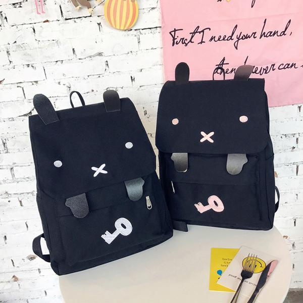 Cute Rabbit Canvas Backpack High Capacity Student Bag Cartoon School Bag