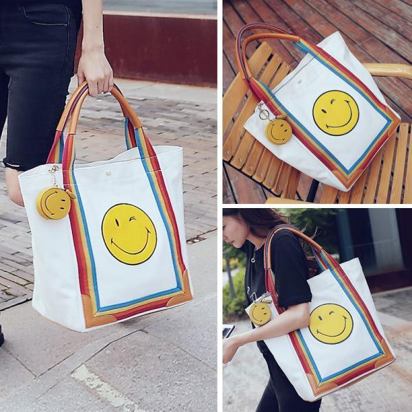 Smiling Face Tote Bag High Capacity Canvas Bag Shoulder Bag Mom Bag