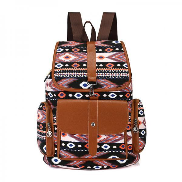 Fashion Bohemia Canvas Backpack High Capacity Satchel Shoulder Bag School Bag Travel Bag