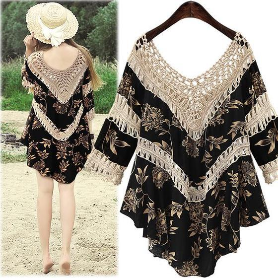 Women Floral Printing Deep V Neck Hollow Out Dress Loose Holiday Beach Dress