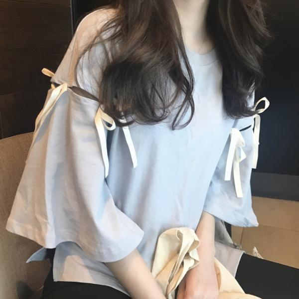 Women Harajuku Bandage Trumpet Sleeves Blouse Round Neck Loose Casual Solid Color T-shirt