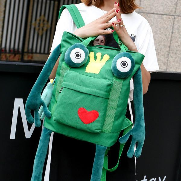 Fashion Frog Prince Canvas Backpack Animal Handbag Satchel Shoulder Bag Cute School Backpack