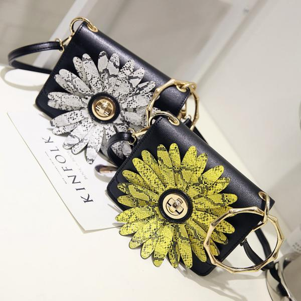 Women Sunflower Retro Bag Ring Handbag Fashion Shoulder Bag