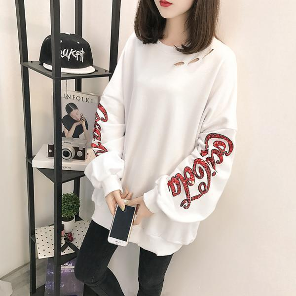 Women Holes Sequins Loose Sweatshirts Long-Sleeve Over Sizes Lovers Sweatshirts