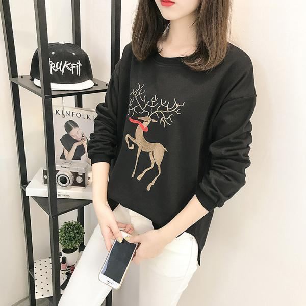 Women Fashion Deer Split Irregular Sweatshirt Plus Size Cartoon Elk Loose Sweatshirt
