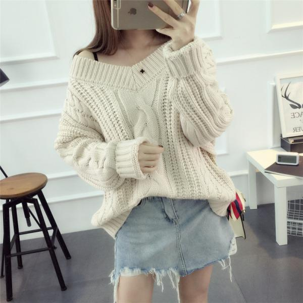 Women Sexy Deep V Neck Loose Thick Sweater Knitted Sweater Coat