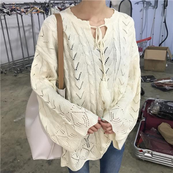 Women Fashion Lace Hollow Out Sweater Casual Loose Long Sweater