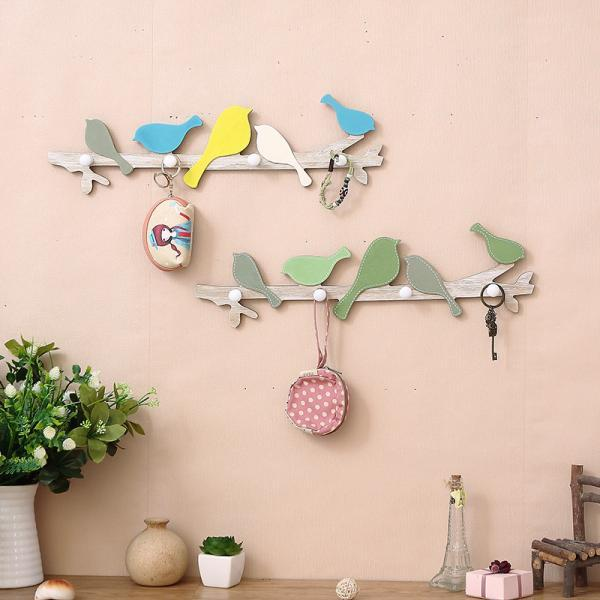 Creative Wooden Bird Hooks Home Wall Hanging Animal Wall Decoration Cute Coat Hooks