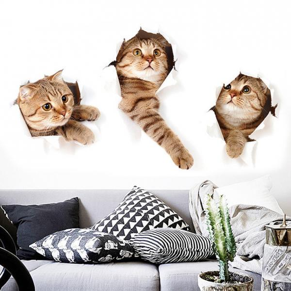 Creative 3D Cat Wall Sticker Cute Animal Home Wall Sticker Waterproof Wall Decoration
