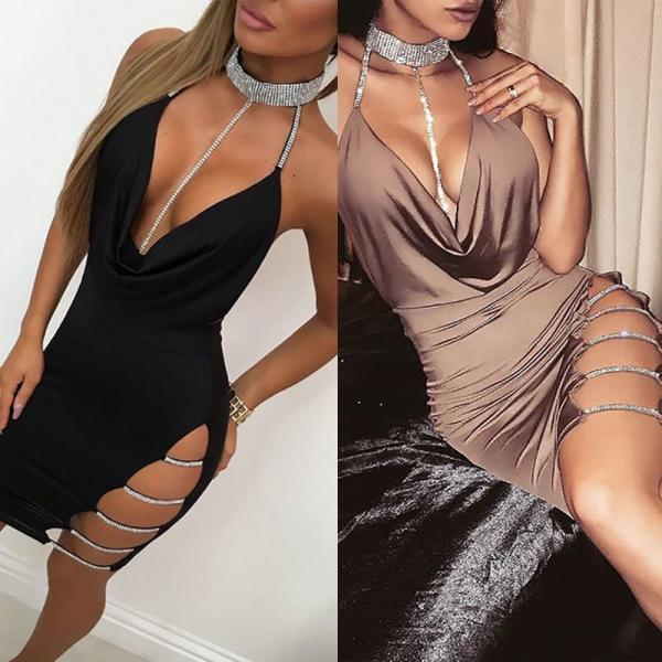 Women Fashion Sequins Halter Club Bodycon Dress Sexy Choker V-neck Split Party Dress