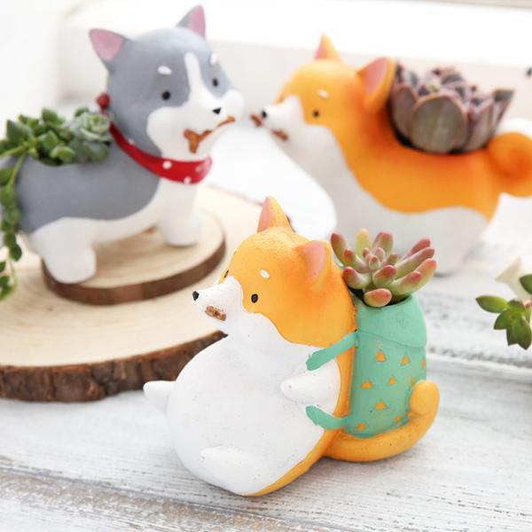 Cute Dog Resin Planters Vase Cute Cartoon Pet Decoration Creative Corgi Mini Flowerpot
