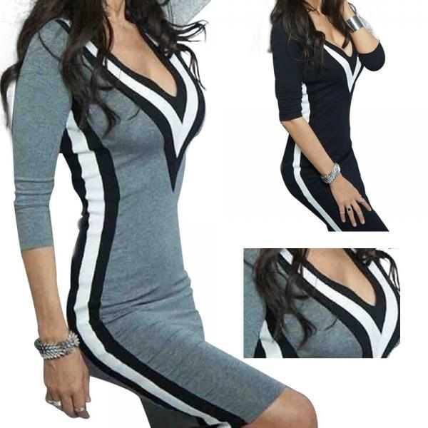 Women Sexy V Neck Long Sleeve Sweater Bodycon Dress
